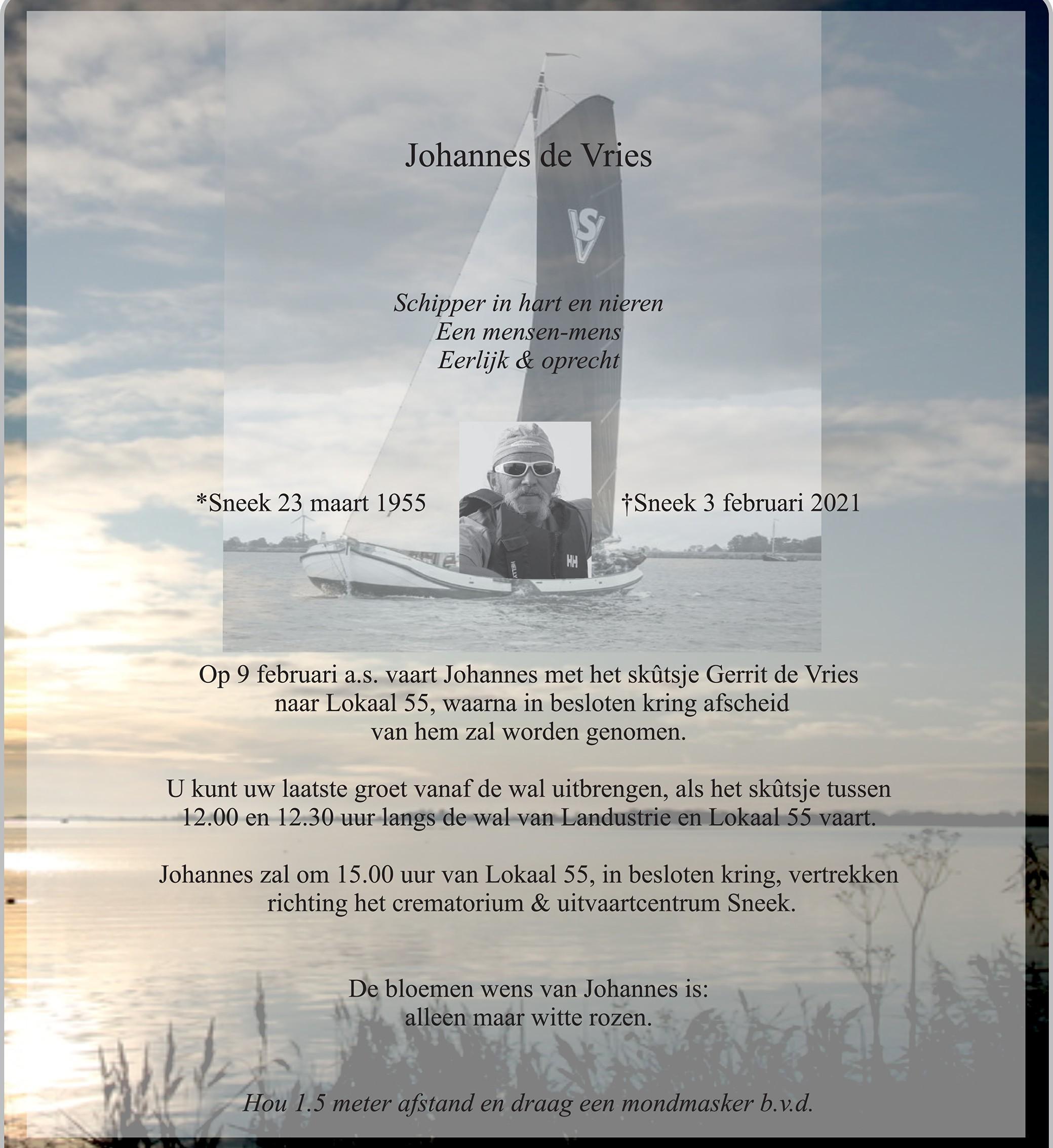Johannes Vries Death notice