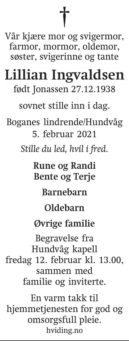 Lillian Ingvaldsen Dødsannonse