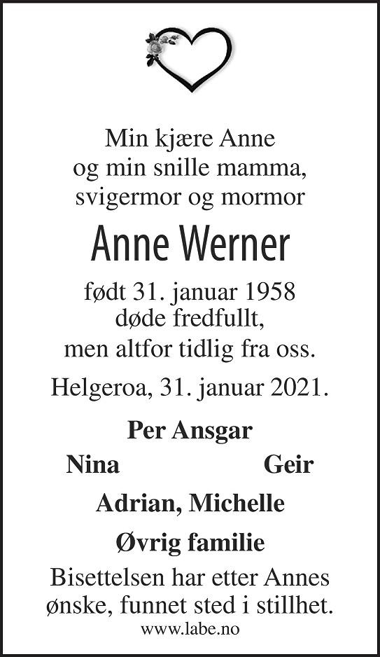 Anne Werner Dødsannonse