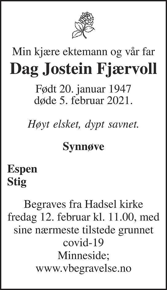 Dag Jostein Fjærvoll Dødsannonse