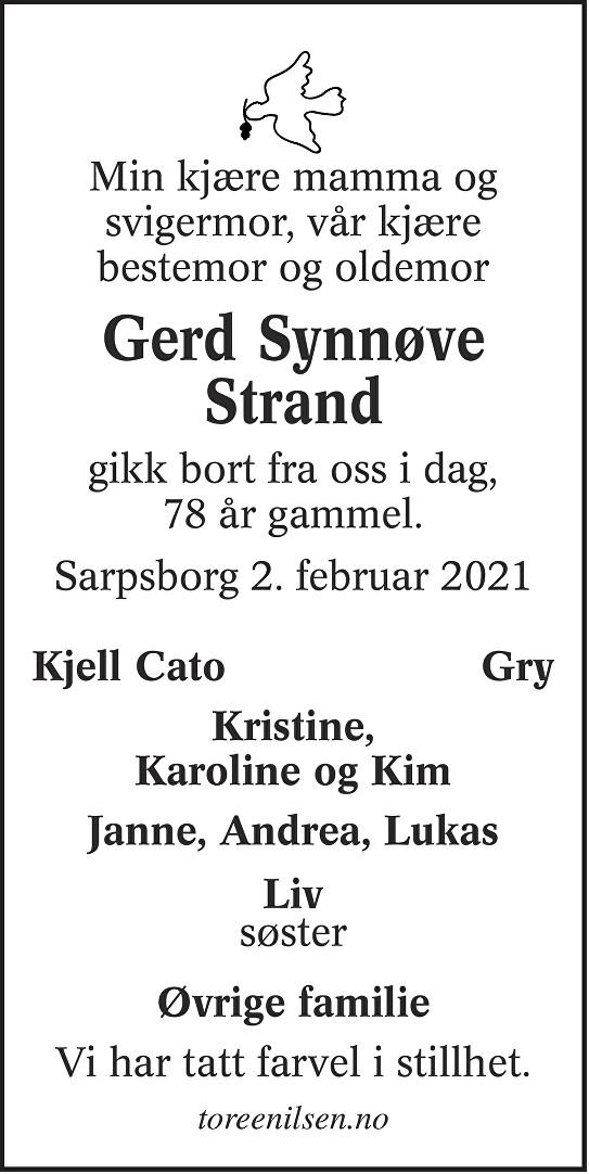 Gerd Synnøve Strand Dødsannonse