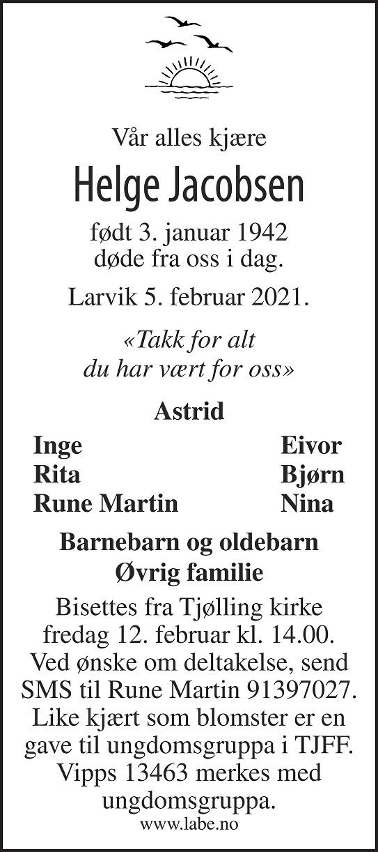 Helge Jacobsen Dødsannonse