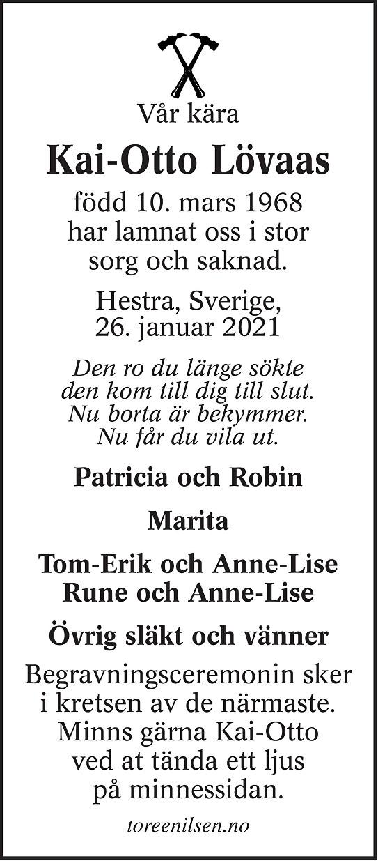 Kai-Otto Løvaas Dødsannonse