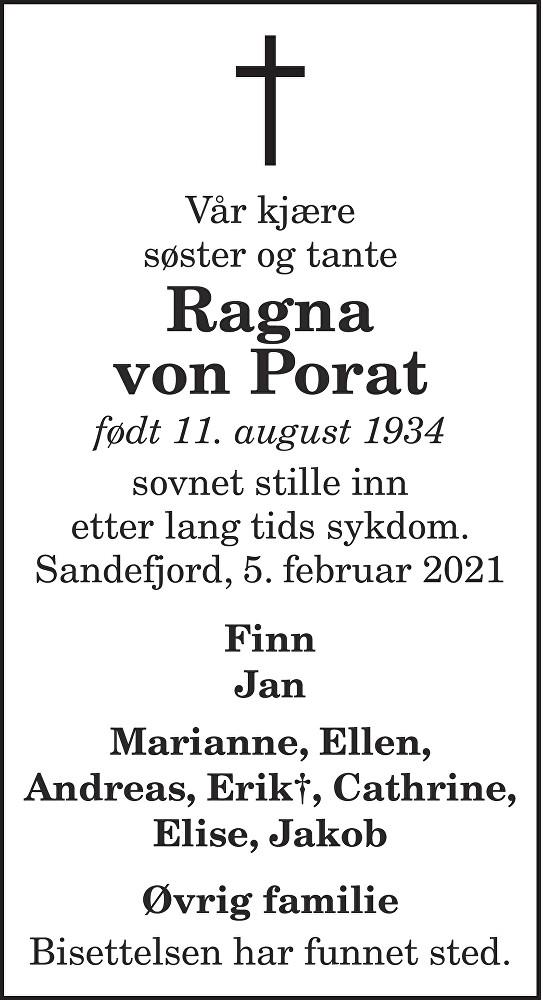 Ragna Von Porat Dødsannonse
