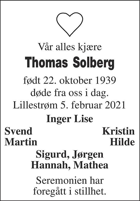 Thomas Solberg Dødsannonse