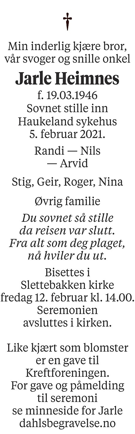 Jarle Heimnes Dødsannonse