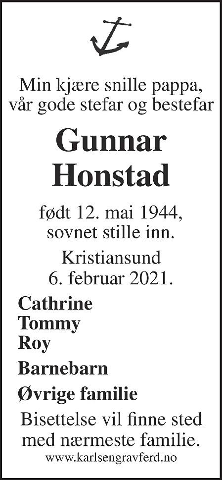Gunnar  Honstad Dødsannonse