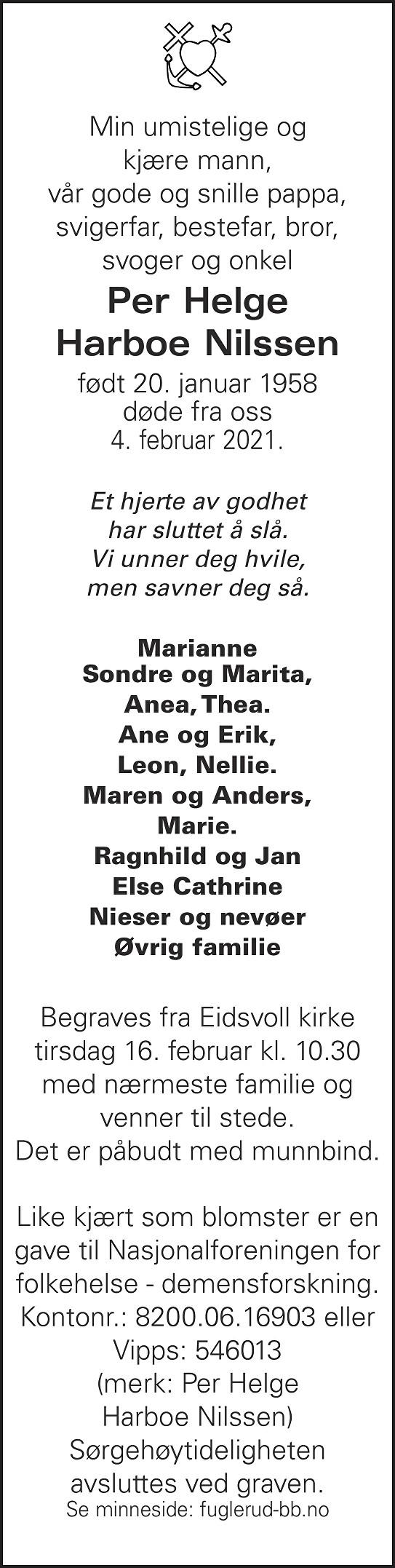 Per Helge Harboe Nilssen Dødsannonse