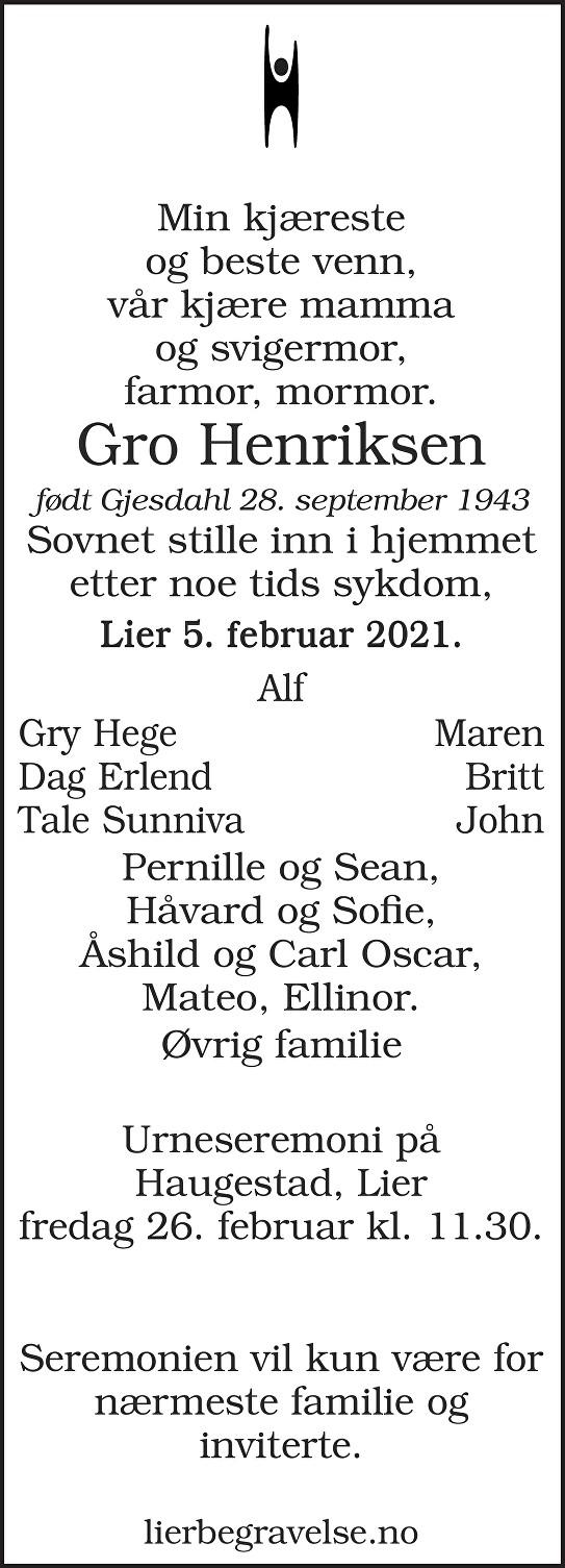 Gro Henriksen Dødsannonse