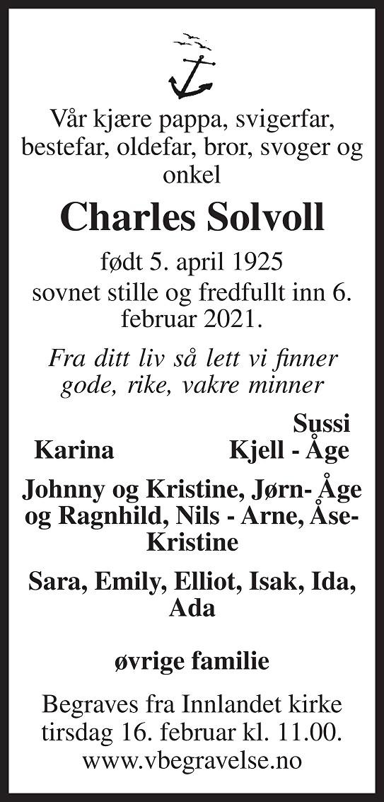 Charles Solvoll Dødsannonse