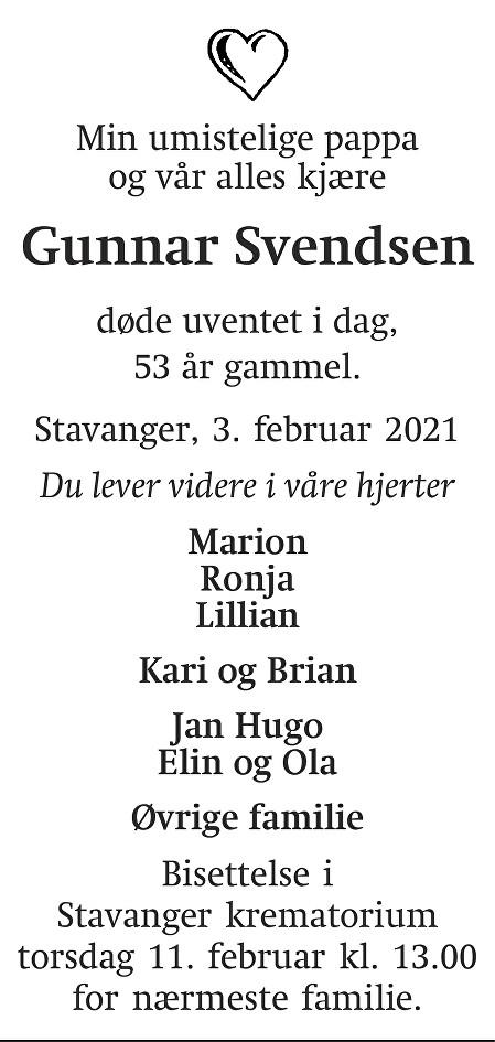 Gunnar  Svendsen Dødsannonse
