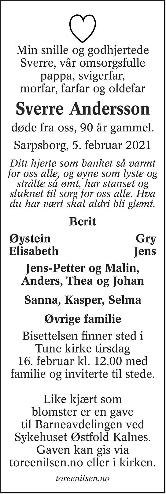 Sverre Andersson Dødsannonse