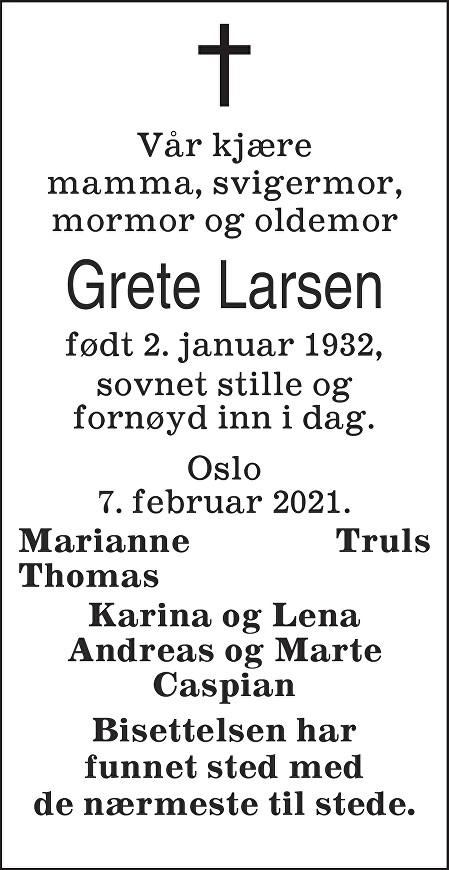Grete Larsen Dødsannonse