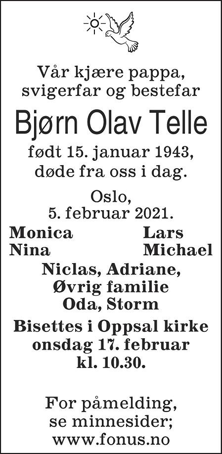 Bjørn Olav Telle Dødsannonse