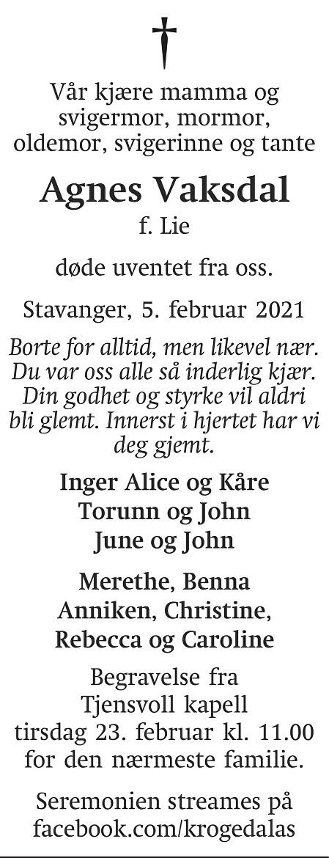 Agnes Vaksdal Dødsannonse