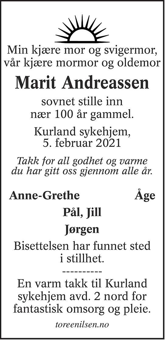 Marit Johanne Andreassen Dødsannonse