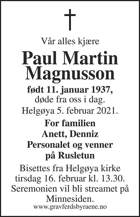 Paul Martin Magnusson Dødsannonse