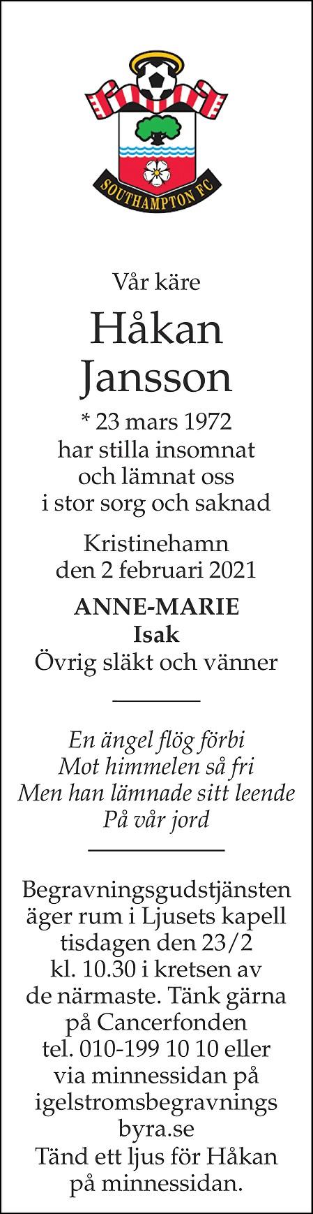 Håkan Jansson Death notice