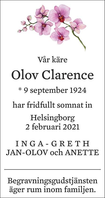 Olov Clarence Death notice