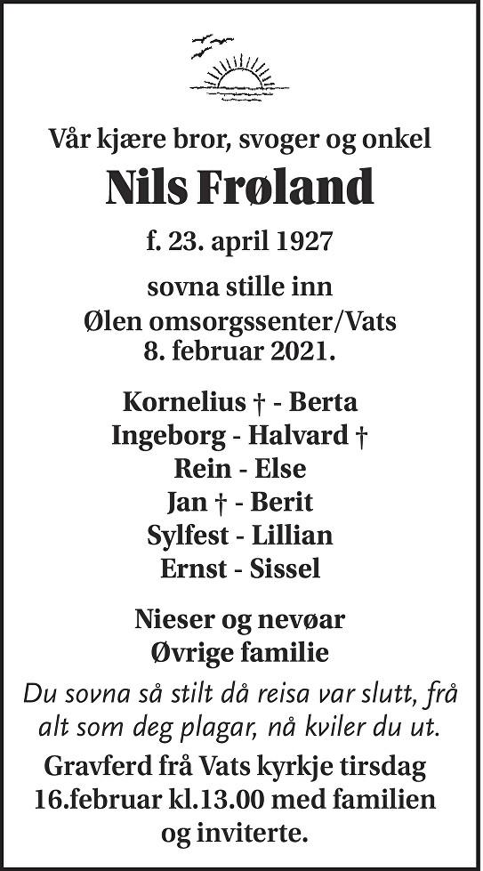 Nils Frøland Dødsannonse