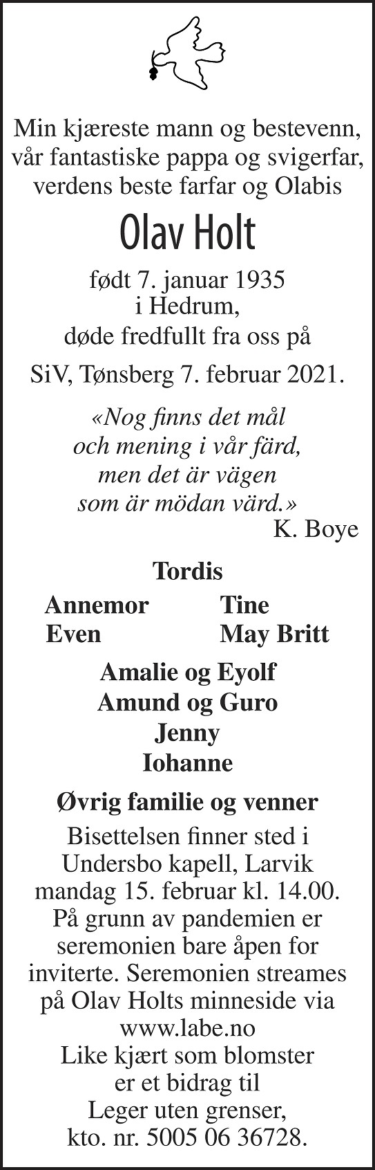 Olav Holt Dødsannonse