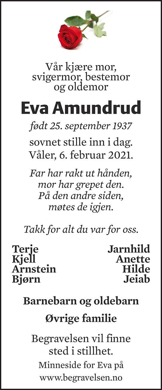 Eva Margrethe Amundrud Dødsannonse