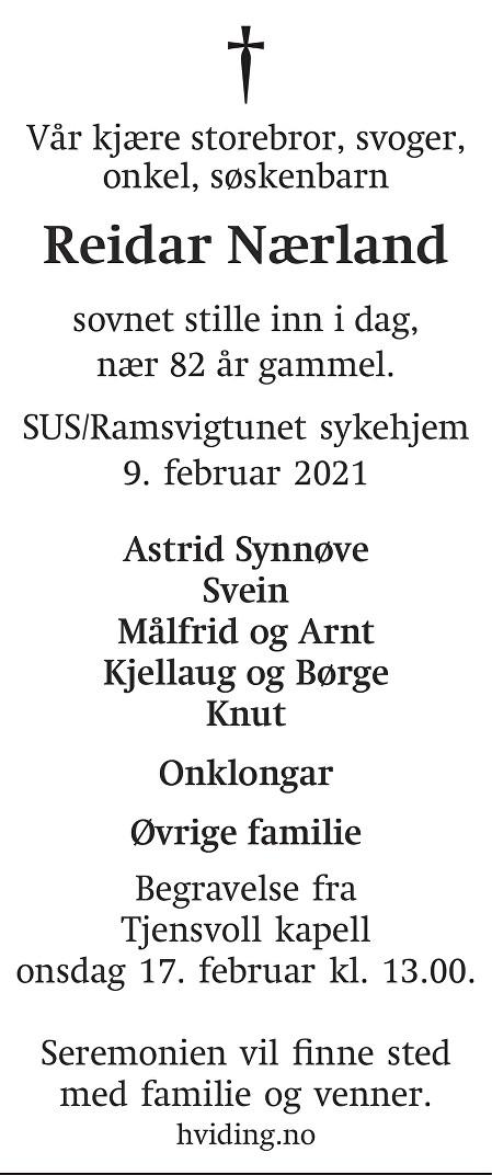 Reidar Nærland Dødsannonse