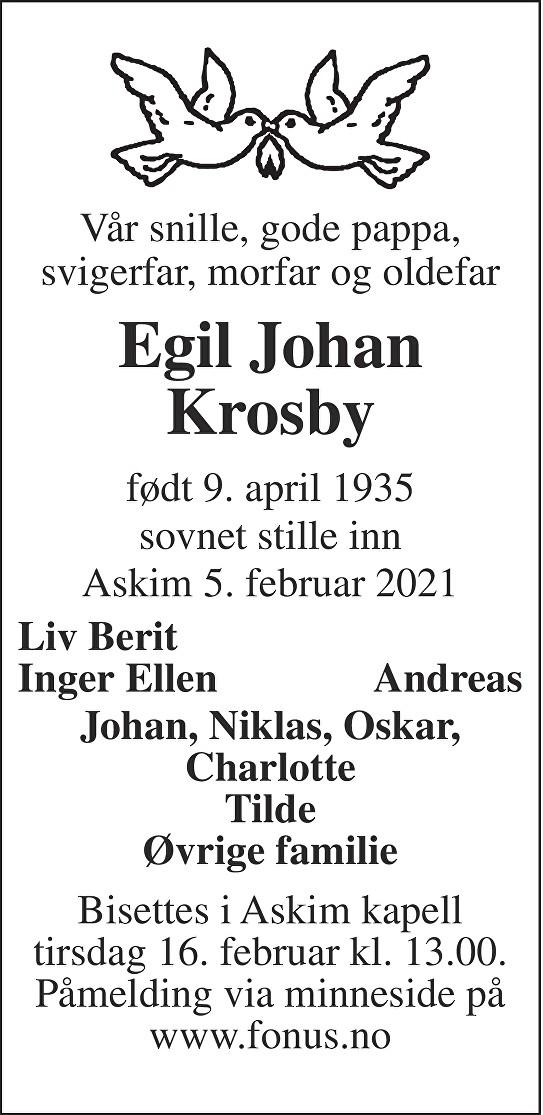 Egil Johan Krosby Dødsannonse
