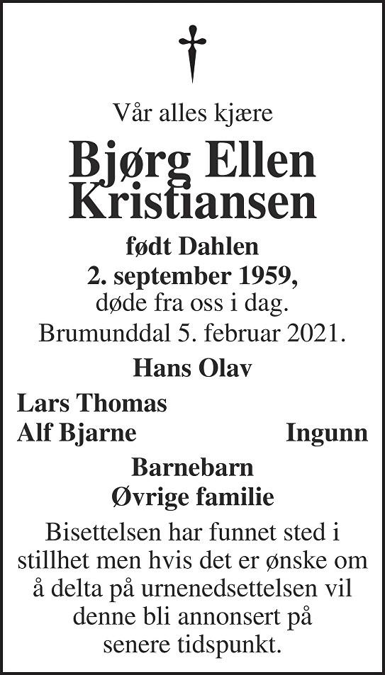 Bjørg Ellen Kristiansen Dødsannonse