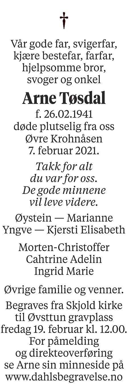 Arne Tøsdal Dødsannonse