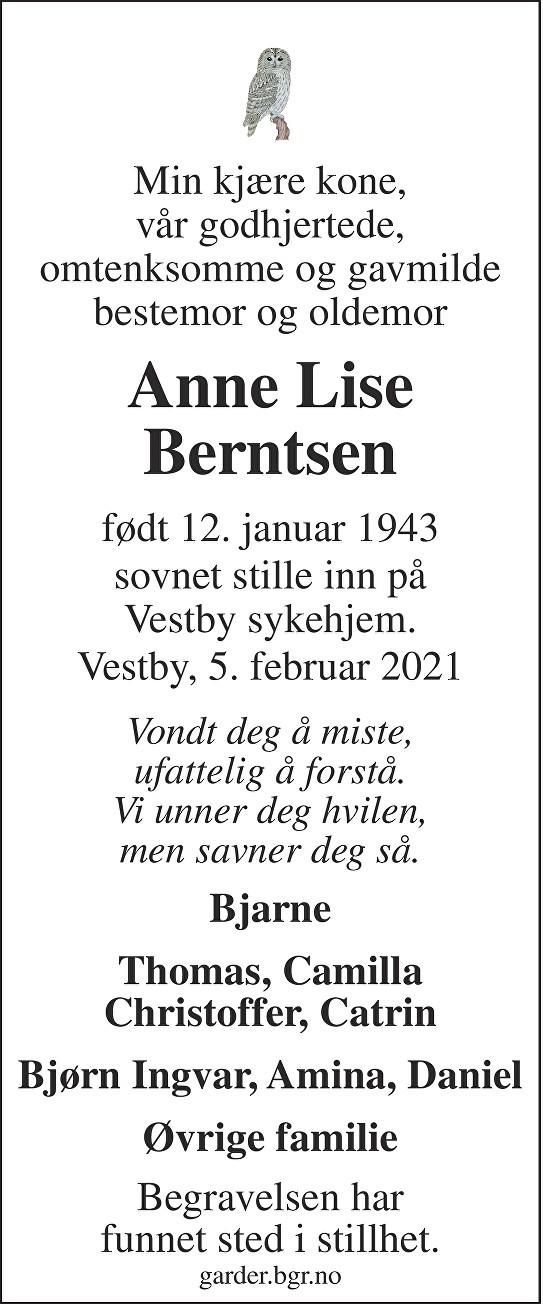 Anne Lise Berntsen Dødsannonse