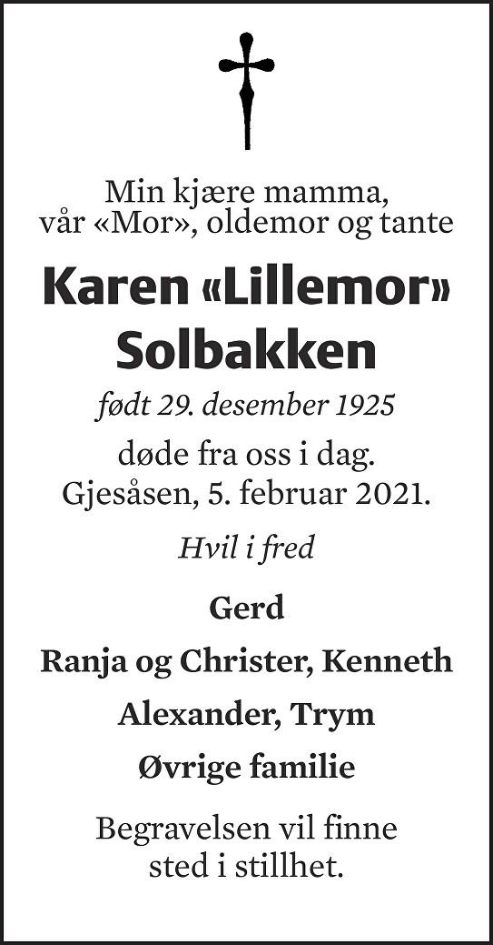 Karen Solbakken Dødsannonse