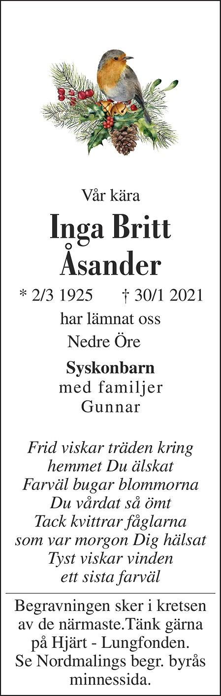 Inga Britt Åsander Death notice
