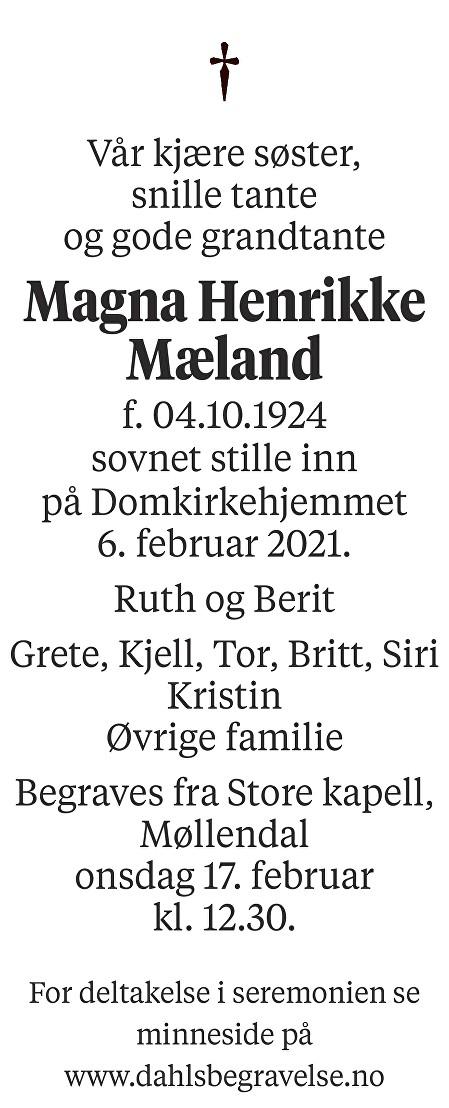 Magna Henrikke Mæland Dødsannonse