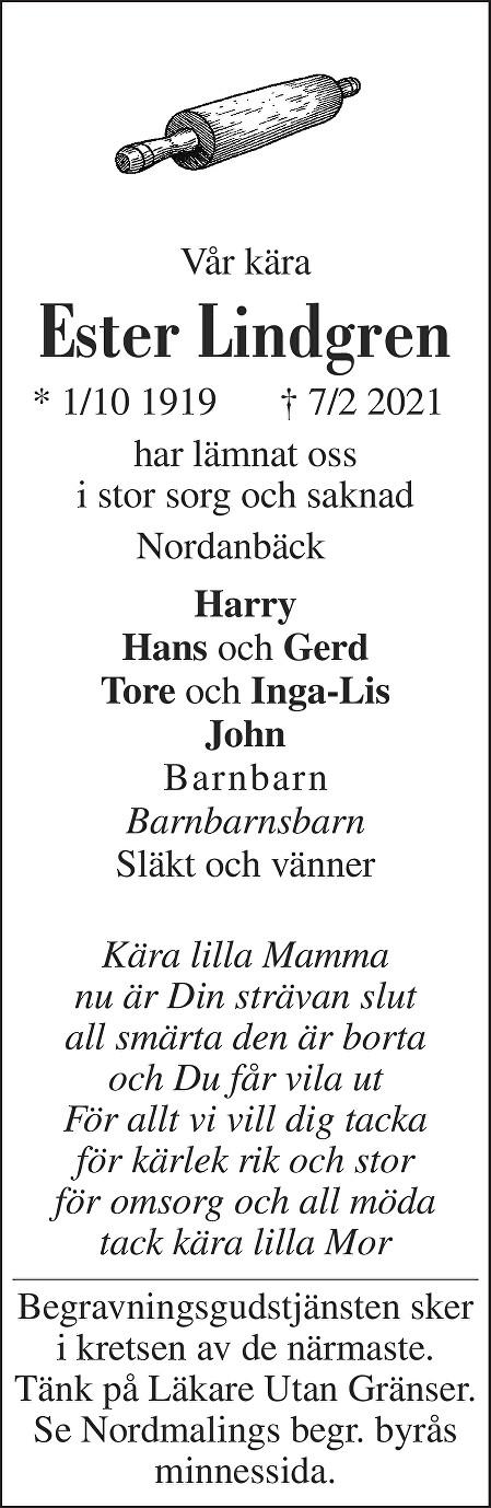 Ester Lindgren Death notice