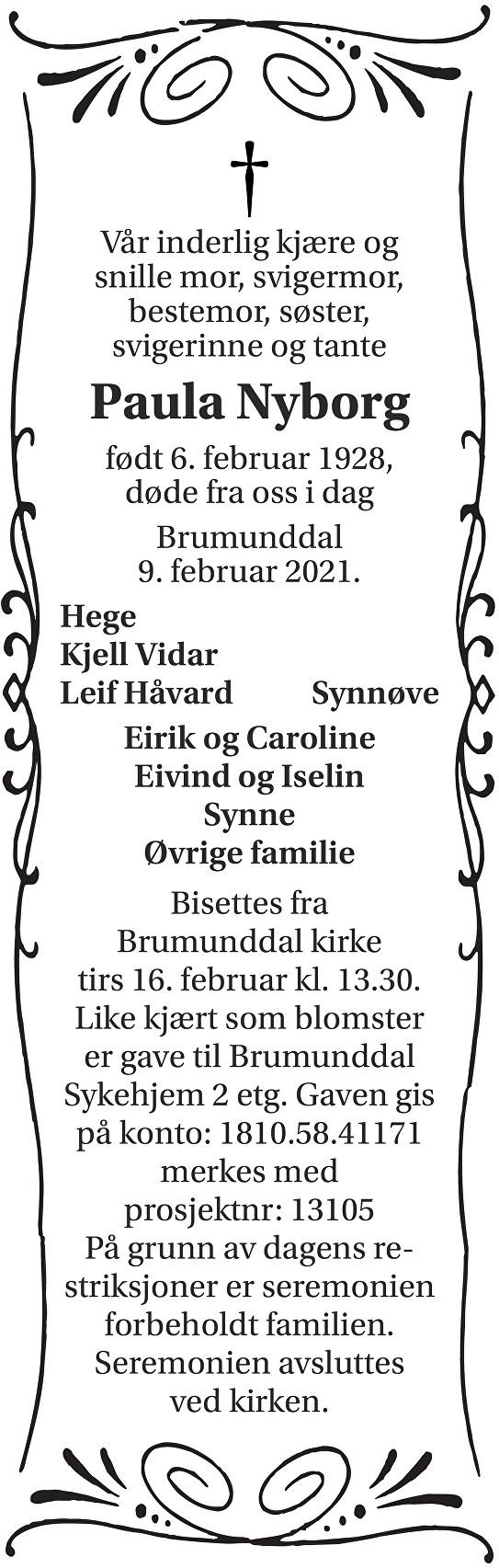 Paula Torbjørg Nyborg Dødsannonse