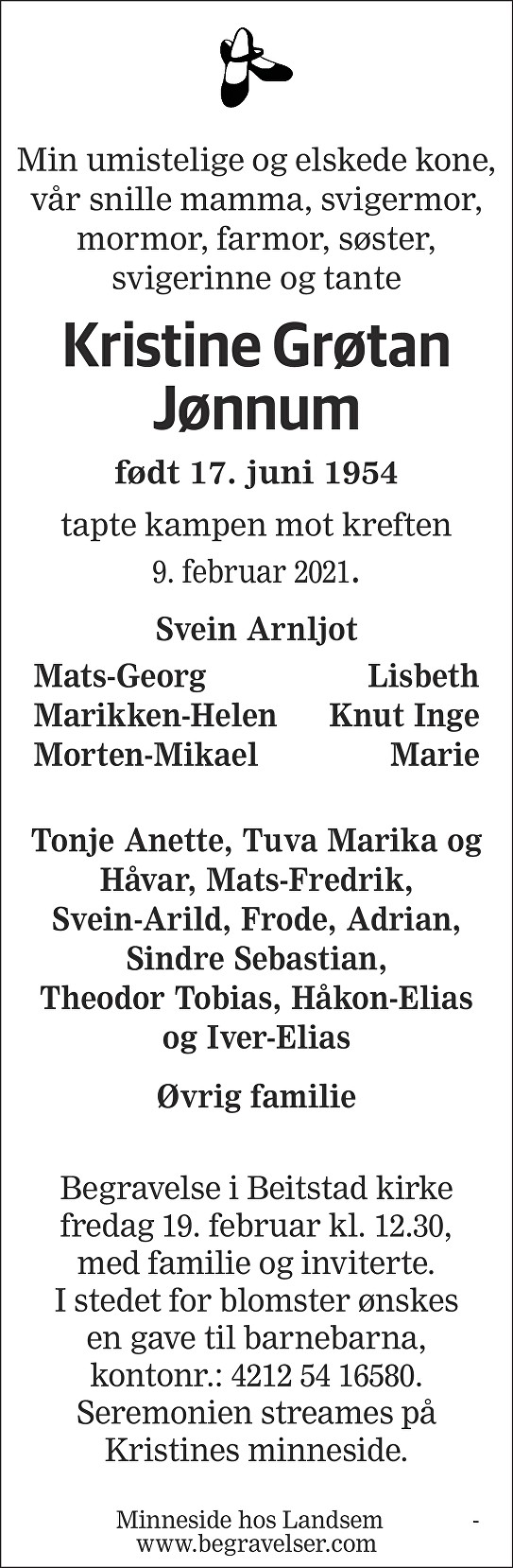 Kristine Grøtan Jønnum Dødsannonse