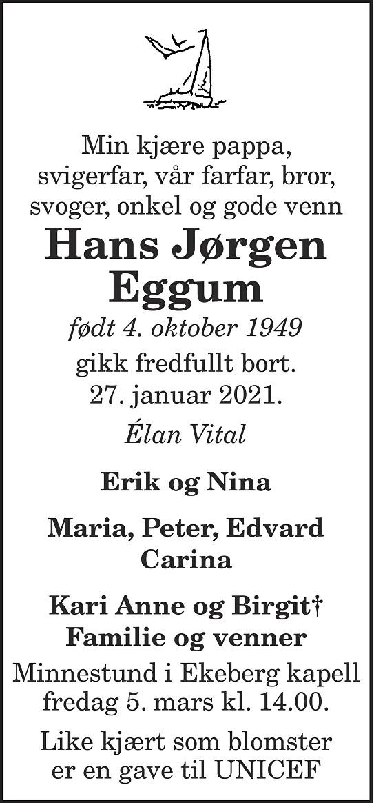 Hans Jørgen Eggum Dødsannonse