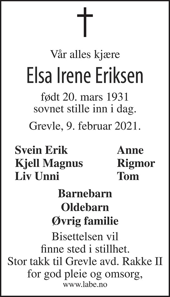 Elsa Irene Eriksen Dødsannonse