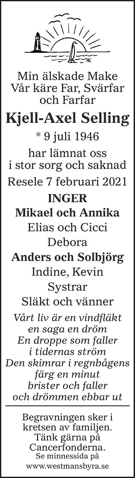 Kjell Axel Selling Death notice