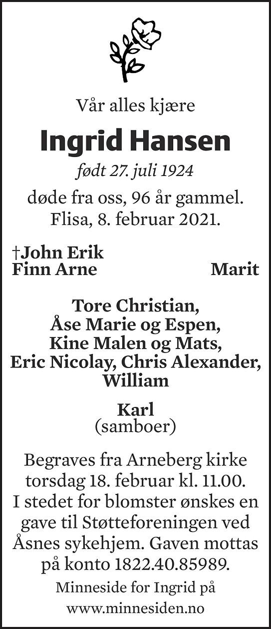 Ingrid Hansen Dødsannonse