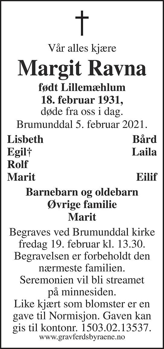 Margit Ravna Dødsannonse