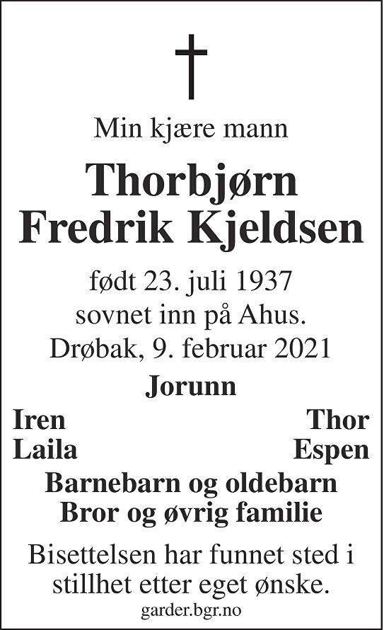 Thorbjørn Fredrik Kjeldsen Dødsannonse
