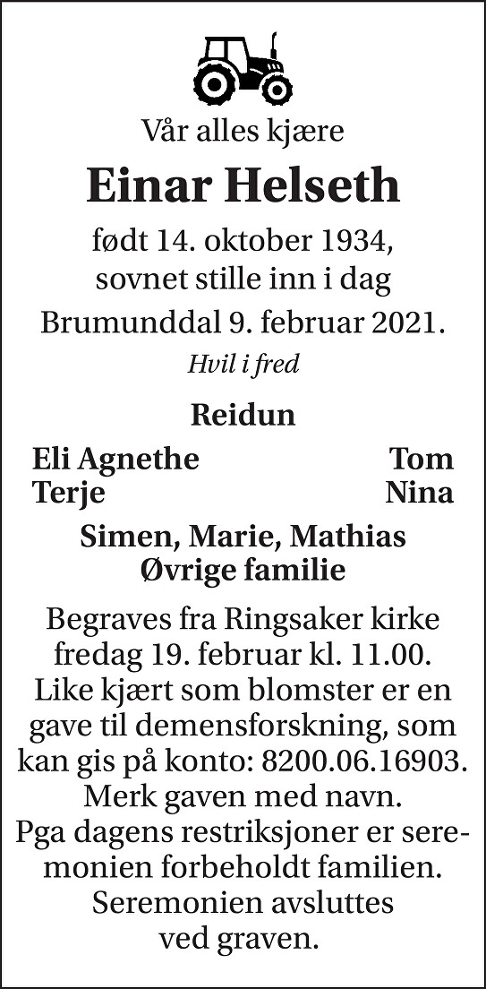 Einar Helseth Dødsannonse