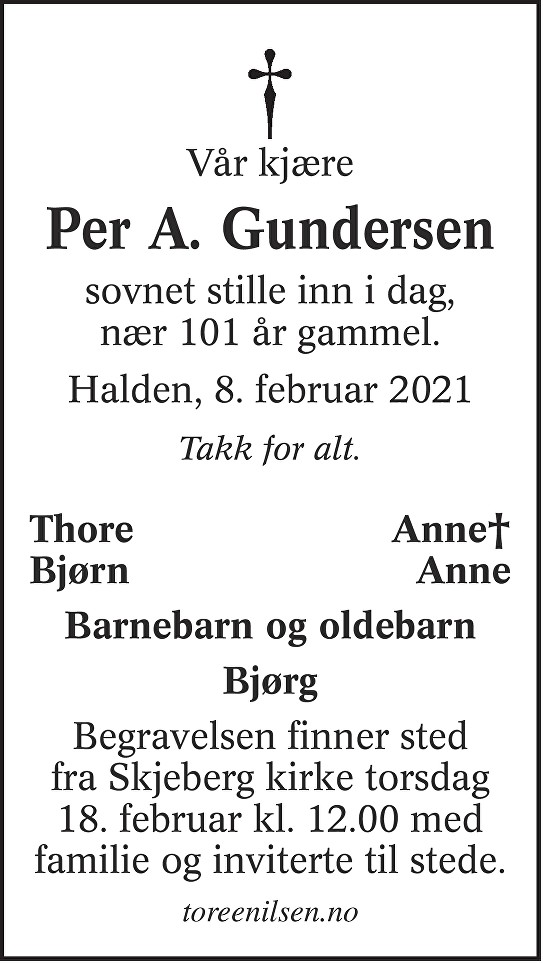 Per Andreas Gundersen Dødsannonse