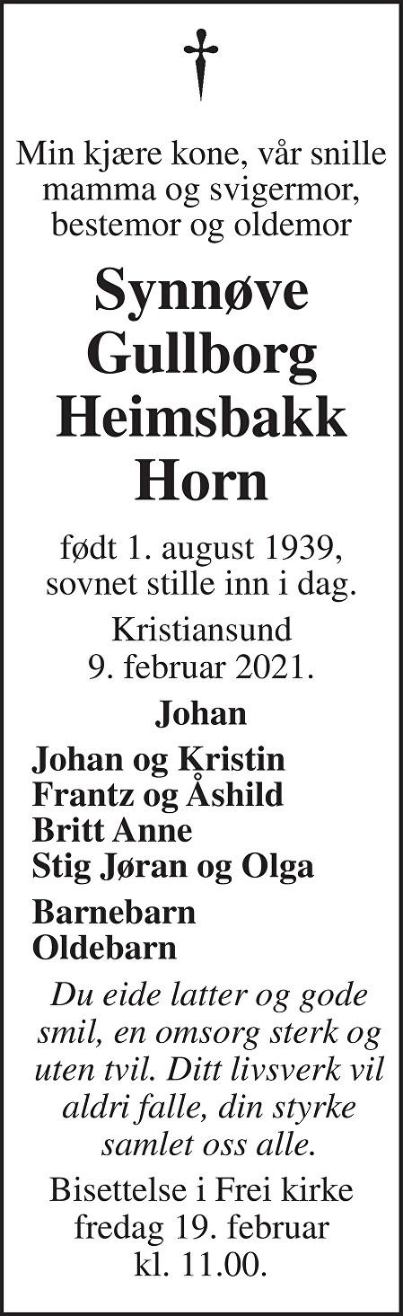 Gullborg Synnøve Heimsbakk Horn Dødsannonse