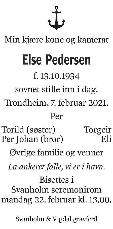 Else Pedersen Dødsannonse