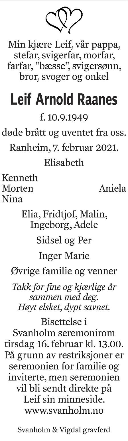 Leif Arnold Raanes Dødsannonse