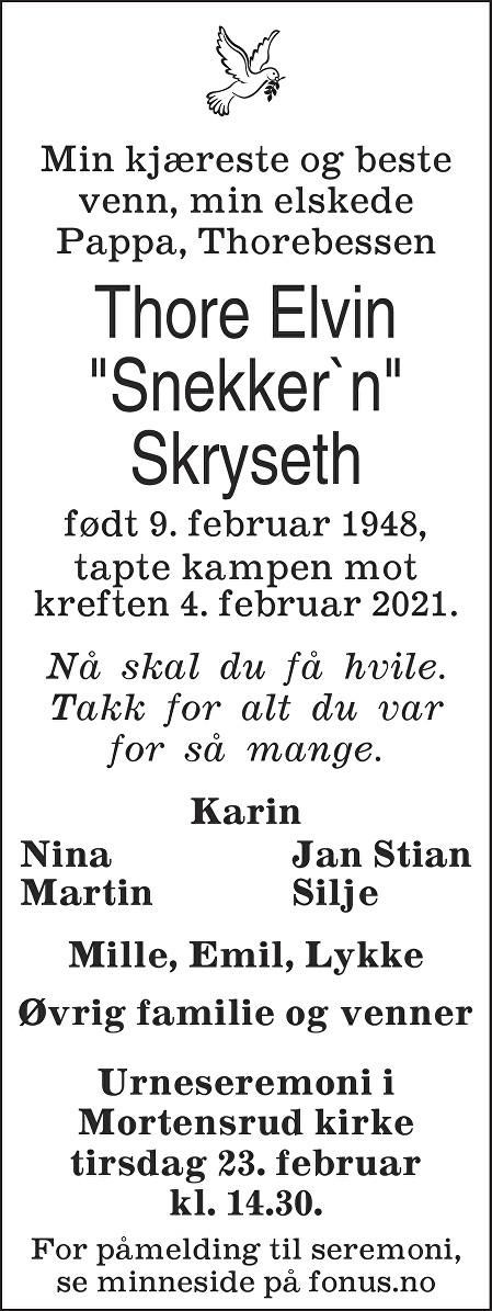 Thore Elvin Skryseth Dødsannonse