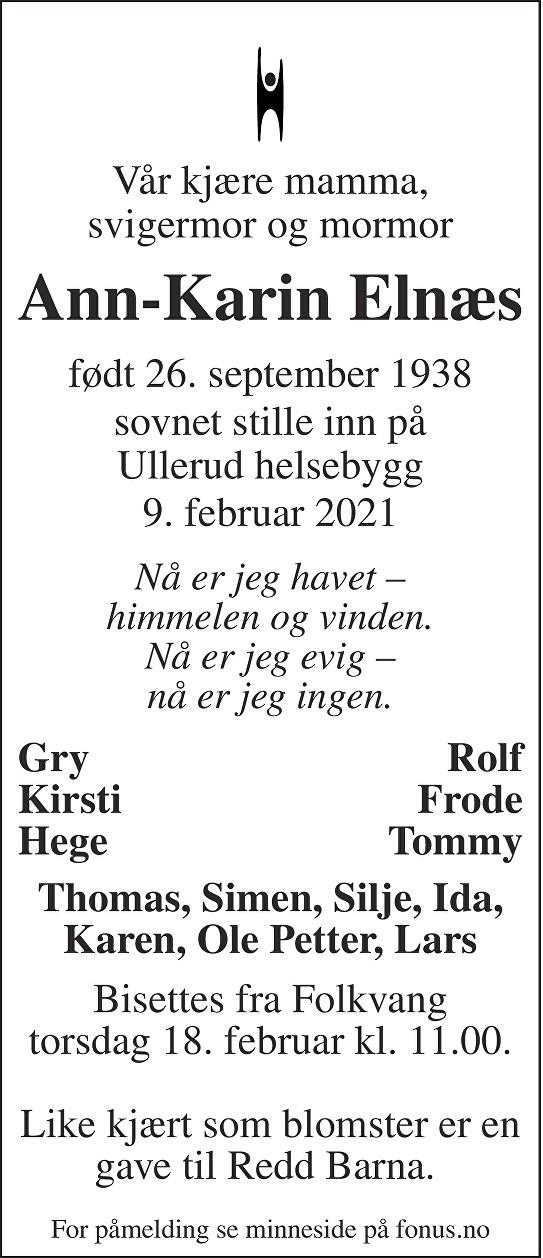 Ann-Karin Elnæs Dødsannonse